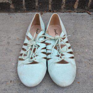 Mint Faux-Suede Lace-Up Flats